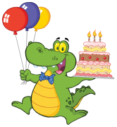 birthday alligator with cake sticker
