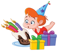 birthday boy blowing candles sticker