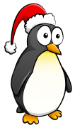 penguin with santa's hat sticker