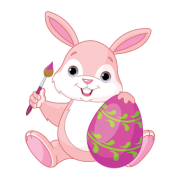 pink bunny with easter egg sticker