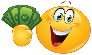 smiley with dollars sticker