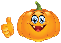 smiling pumpkin showing thumb up sticker