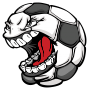 soccer ball with screaming face sticker