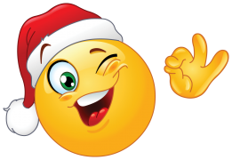 winking emoticon wearing santa hat sticker