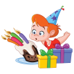 birthday boy blowing candles sticker