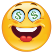 emoticon with dollar eyes sticker