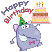 elephant with birthday cake sticker