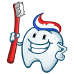happy tooth mascot sticker