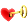 key of heart sticker