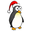 Penguin with Santa's hat
