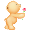 teddy with rose sticker