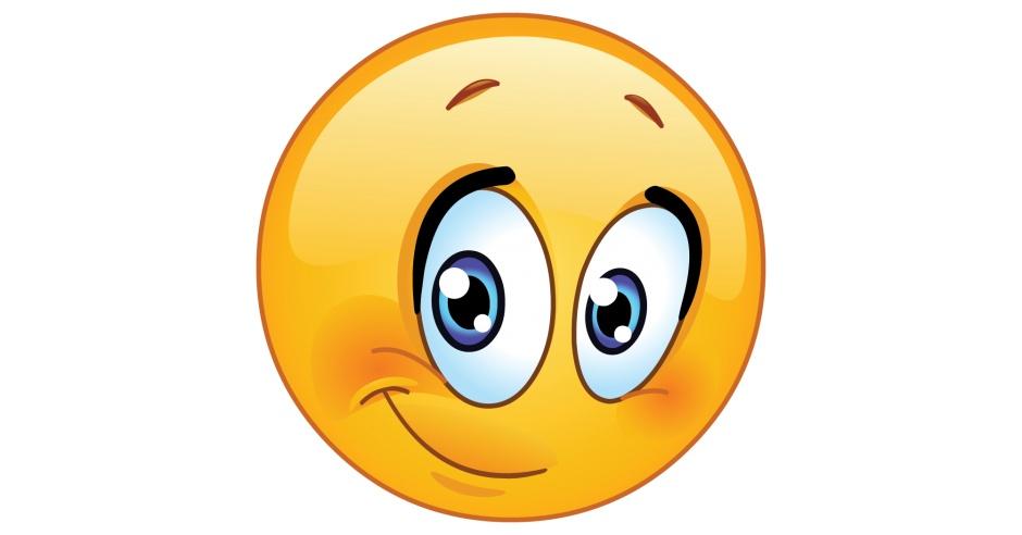 Cute Emoticon With Half Smile